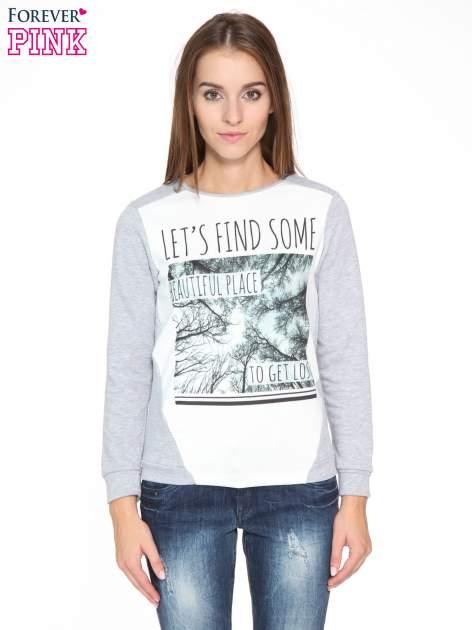 Szara bluza dresowa z nadrukiem LET'S FIND SOME BEAUTIFUL PLACE TO GET LOST