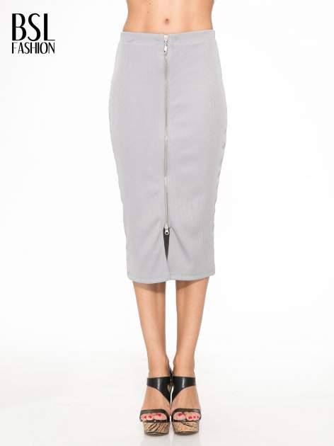 Szara spódnica midi z suwakiem z przodu