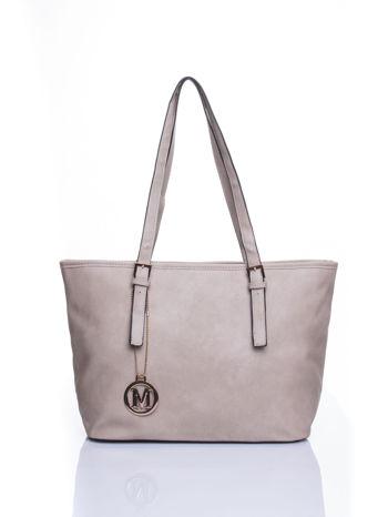Szara torba shopper bag z regulowanymi rączkami