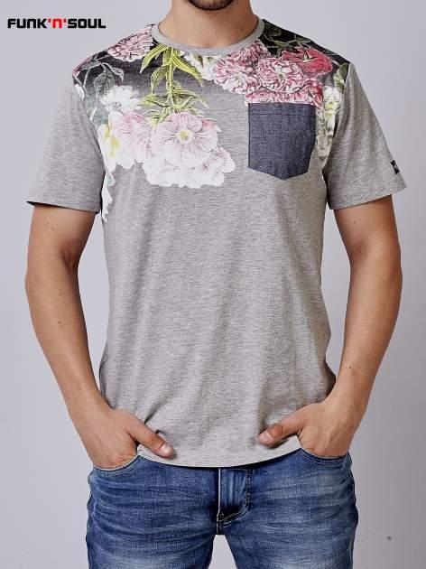 Szary t-shirt męski hipster w kwiaty Funk n Soul