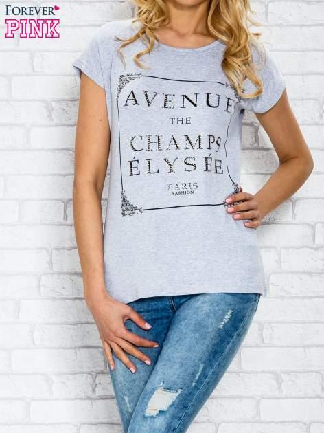 Szary t-shirt z napisem AVENUE THE CHAMPS ÉLYSÉE