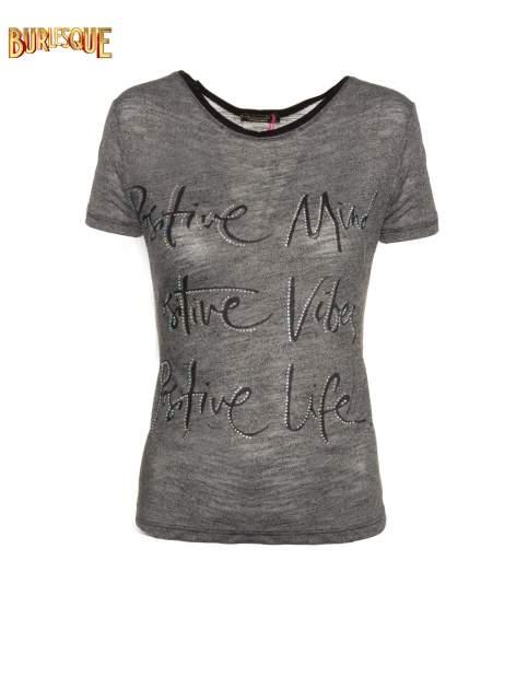 Szary t-shirt z napisem POSITIVE MIND z dżetami