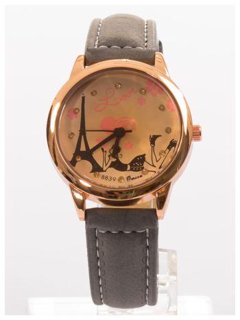 Szary zegarek damski z cyrkoniami na skórzanym pasku