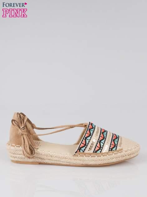 Wiązane espadryle lace up w azteckie wzory