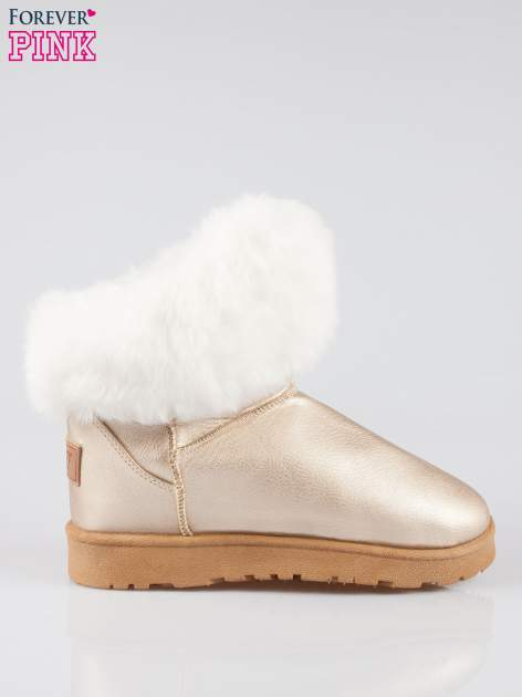 Złote krótkie śniegowce damskie z kożuszkiem