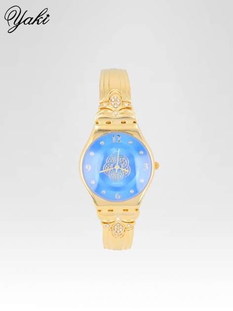 Złoty biżuteryjny zegarek damski z niebieską tarczą