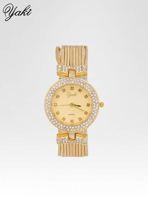 Złoty zegarek damski na bransolecie z łańcuszków ze złotą tarczą