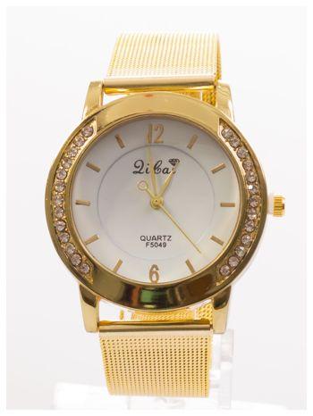 Złoty zegarek damski z cyrkoniami wokół koperty