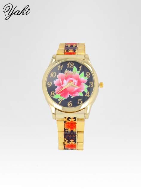 zegarek damski na bransolecie z czerwonym motywem kwiatowym