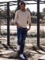 Beżowa gładka koszulka męska longsleeve