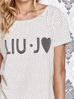 Beżowy t-shirt w drobne groszki z napisem LIU J❤