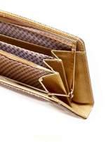 Brązowy portfel z motywem skóry węża z biglem