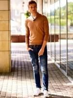 Brązowy sweter męski z guzikami FUNK N SOUL