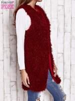 Ciemnoczerwona futrzana kamizelka