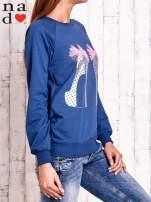 Ciemnoniebieska bluza z nadrukiem szpilek