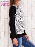 Czarna bluza z tekstowym nadrukiem