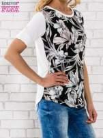 Czarna bluzka z liściastym motywem