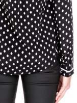 Czarna koszula w kropki z dekoltem z suwakiem