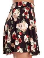 Czarna mini spódnica skater w kwiaty