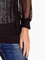 Czarna siatkowa bluzka z efektem glitter