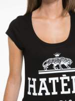 Czarny t-shirt z napisem HATERS PARIS