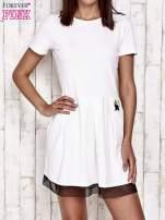 Ecru sukienka dresowa z tiulem w groszki