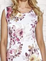 Ecru sukienka w różowe kwiaty