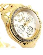 GENEVA Złoto-srebrny zegarek damski z cyrkoniami na bransolecie GENEVA