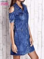 Granatowa sukienka z rękawami cut out