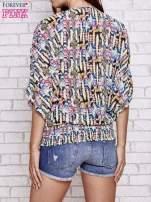 Granatowa wzorzysta koszula nietoperz z suwakiem