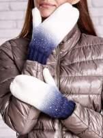 Granatowe rękawiczki z dżetami i efektem ombre