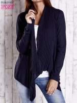 Granatowy długi sweter z wykończeniem w prążki