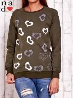 Khaki bluza w serduszka
