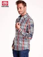 Koszula męska w kolorową kratkę z naszywkami na rękawie