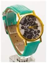 Miętowy zegarek damski na skórzanym pasku z motywem koronki