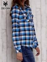 Niebieska koszula w kratę z kieszonkami