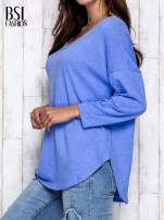 Niebieska melanżowa bluzka z dekoltem na plecach