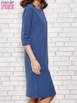 Niebieska prosta sukienka dresowa