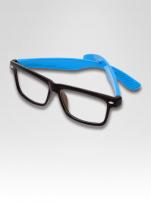 Niebiesko-czarne okulary zerówki kujonki typu WAYFARER NERDY