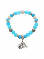 Niebiesko  - srebrna Bransoletka koralikowa
