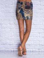 Patchworkowa spódnica mini z zamkiem