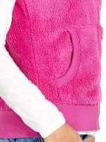 Różowa kamizelka z polaru z kapturem z uszkami