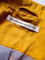 STRADIVARIUS Żółty klasyczny żakiet damski z pasiastą podszewką