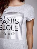 Szara sukienka dresowa ze srebrnym printem PARIS