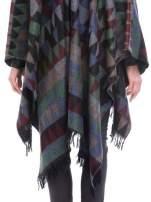 Szaro-niebieskie poncho w stylu boho z frędzlami