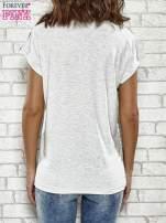Szary t-shirt w paski z nadrukiem PARIS, ROME, NEW YORK
