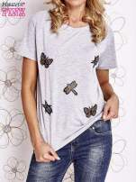 Szary t-shirt z aplikacją owadów