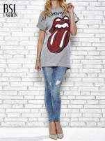 Szary t-shirt z logo THE ROLLING STONES