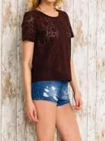 VERO MODA Ciemnofioletowy ażurowy t-shirt