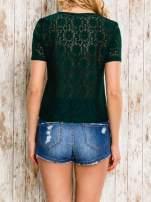 VERO MODA Ciemnozielony ażurowy t-shirt